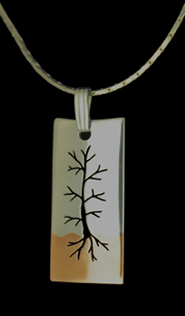 tree modern silver copper necklace pendant