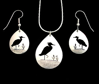 earrings pendant necklace heron