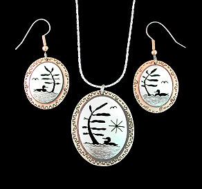 loon tree of life necklace pendant earrings