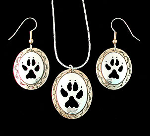 wolf paw pendant necklace earrings brass silver