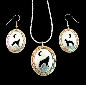 wolf wolves earrings, pendant, necklace brass silver